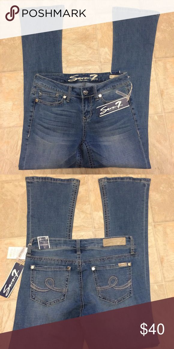 "NWT | 7 Seven Jeans | Rocker Slim Boot Cut Jeans New with tags. Light-medium wash Slim boot cut jeans. Whiskering, light distressing, and thick threaded seams. Embroidered pockets with silver tone button details. - Approx. 9"" rise, 32"" inseam  70% cotton, 27% polyester, 1% spandex, 2% other fiber Seven7 Jeans Boot Cut"