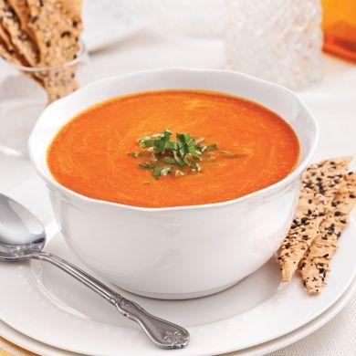 Velouté de poivrons rouges grillés - Entrées et soupes - Recettes 5-15 - Recettes express 5/15 - Pratico Pratique