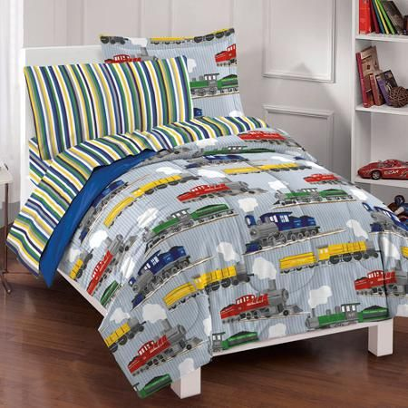 Dream Factory Trains Mini Bed in a Bag Bedding Set, Blue $60