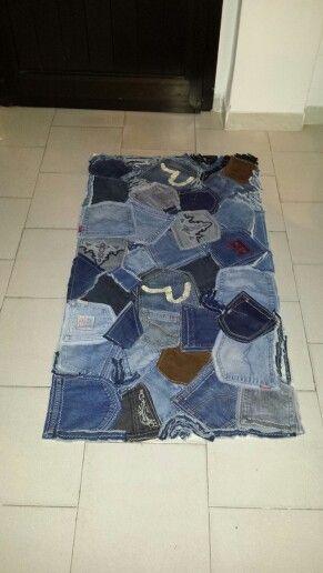 Tappeto jeans handmade riciclaggio jeans