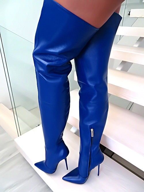 U32 Blau Italy Overknee Lange Anouk Leder Damen Stiefel tCBdxrhsQ