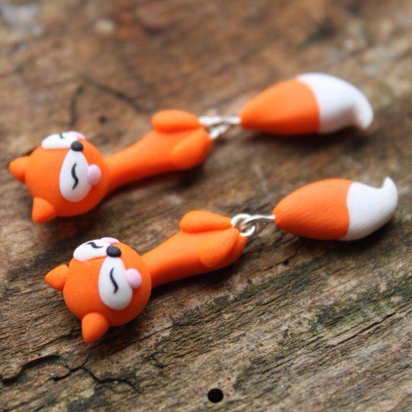 Hanging fox earrings