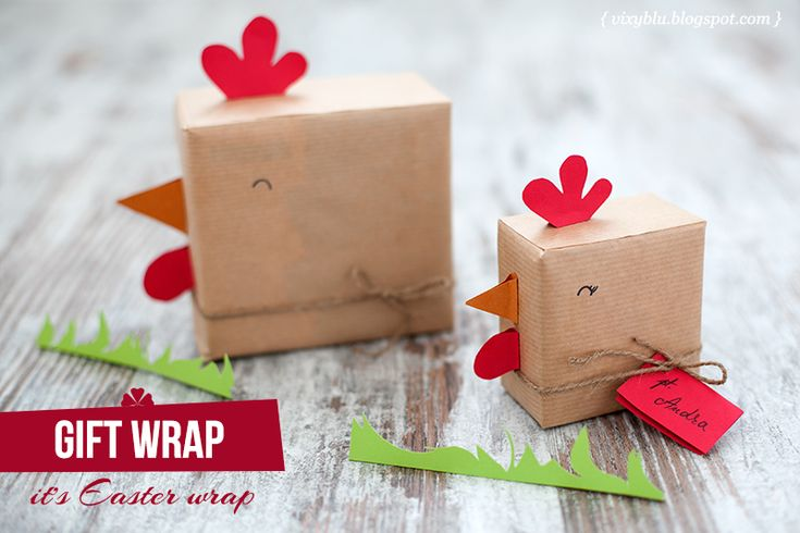 Cute chicken gift wrapping.  http://vixyblu.blogspot.ro/2013/04/diy-ambalaje-pentru-paste-1-din-4.html