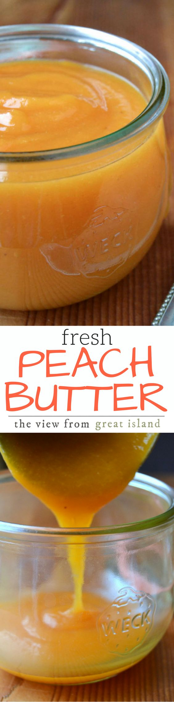 You'll kick yourself if you don't make a big batch of silky Peach Butter before the peaches are all gone for the year!  This is sheer heaven on a piece of toast, a warm biscuit, or just by the spoonful! | jams | preserving | canning | stone fruit | summer recipe |