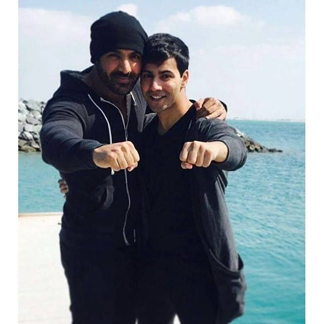 Varun Dhawan and John Abraham on the sets of their upcoming movie 'Dishoom' in Abu Dhabi.