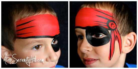 Red bandana on pirate face painting
