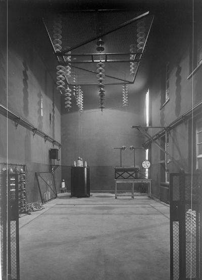 mikasavela:High voltage room in the electrical engineering laboratory of the Helsinki Polytechnical Institute, 1920s(From Aalto University Library and Archive Commons)