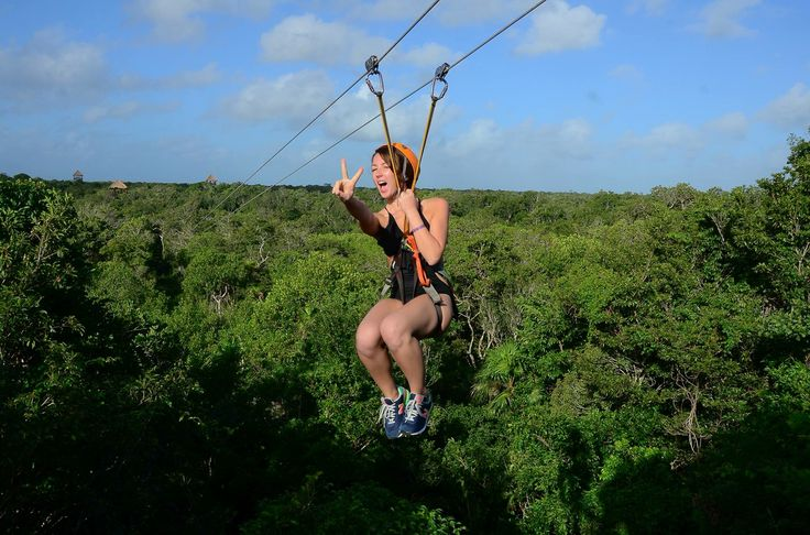 Zip line. Jungle Maya. Mexico