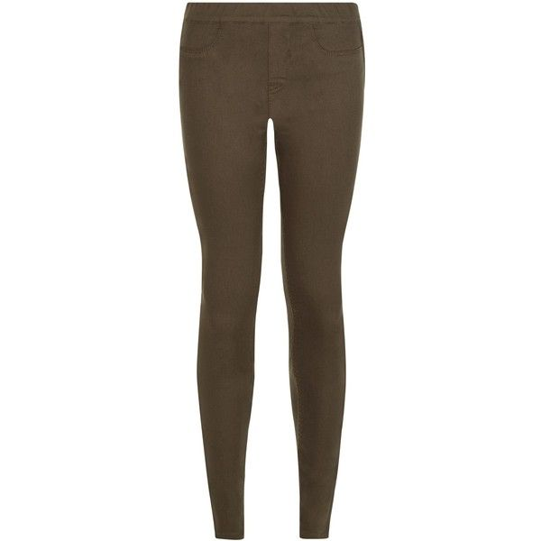 New Look Khaki Jeggings ($14) ❤ liked on Polyvore featuring khaki, denim jean leggings, brown denim pants, khaki trousers, brown leggings and khaki jeggings