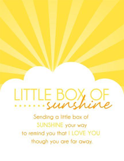 Little Box of Sunshine - Care Package Ideas. shopringmasters.com