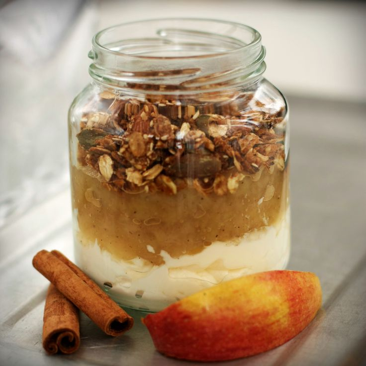 Greek yogurt, applesauce and homemade granola