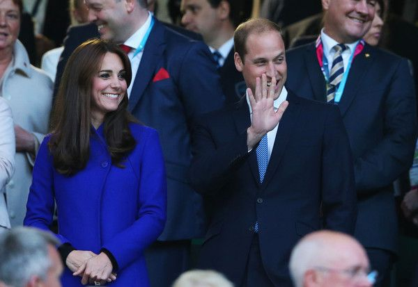 Catherine, Duchess of Cambridge and Prince William, Duke of Cambridge clap during the opening ceremony of  the 2015 Rugby World Cup Pool A match between England and Fiji at Twickenham Stadium on September 18, 2015 in London, United Kingdom.