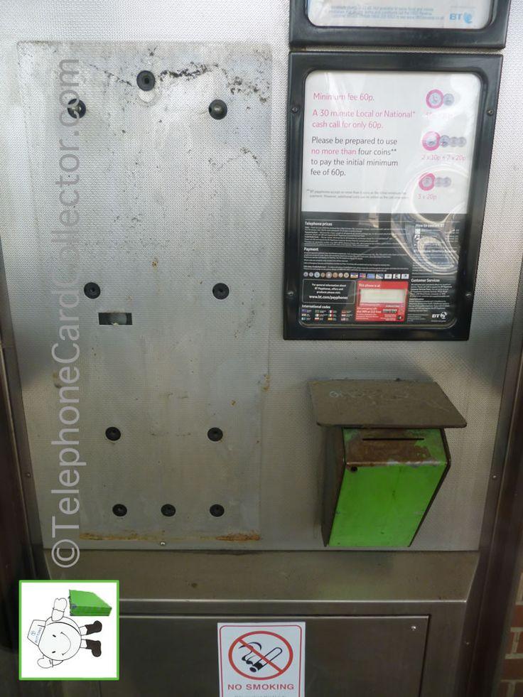 Used green BT Phonecard bin in telephone kiosk - Peterborough train station - July 2013.