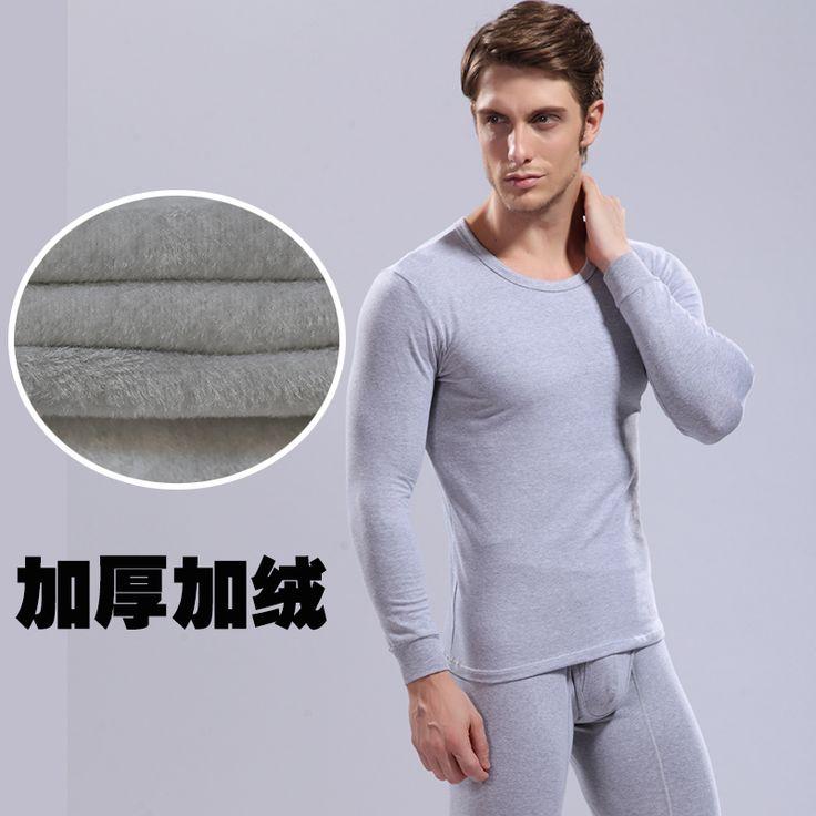 Мужской шерсть термобелье мужской о-образным шеи утолщение плюс бархат 1 комплект тонкий мужские кальсоны мужчины держать теплую одежду