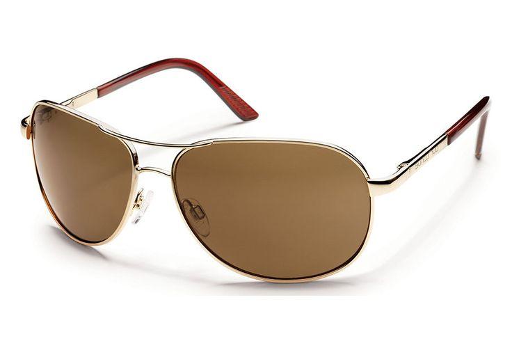 Suncloud - Aviator Gold Sunglasses, Brown Polarized Lenses