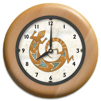 Copper Lizard Round Wood Wall Clock - From our Southwestern Clocks category, this clock has a traditional Native American gecko symbol.  $63.00