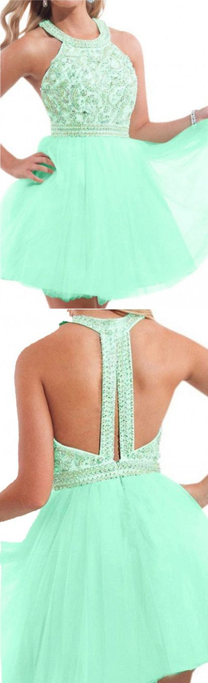 Mint Homecoming Dresses,Short Racer Back Prom dresses, Beaded party cocktail  dresses