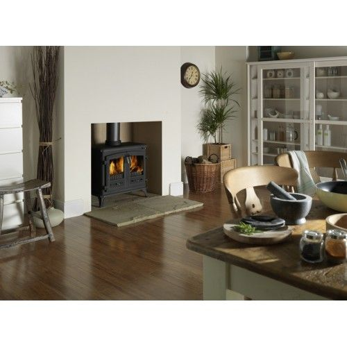 """Dimplex 12kw Westcott MF StoveMulti-fuel appliance suitable for burning wood and most approved, manufactured smokeless fuels Tested and approved to European Standard EN13240 Tested heat output: - 12.1kW (wood) - 12.2kW (""""Ancit"""" fuel) Airwash system to maintain clear door glass"""