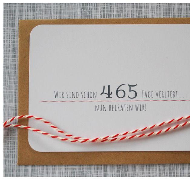 """♥ 465 Tage ♥  reinweiße Einladungskarte zur Hochzeit...auf der Vorderseite könnt ihr eure """"Wir sind zusammen Tage"""" eintragen und auf der Rückseite steht euer ganz persönlicher Einladungstext......"""
