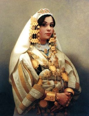 Painting of a Libyan bride in traditional dress.