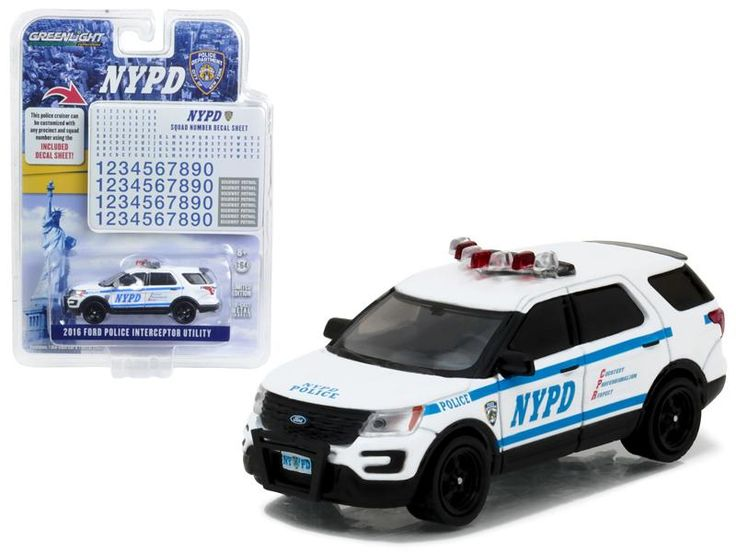 2016 Ford Interceptor Utility Police New York Police Department (NYPD) with NYPD Squad Number Decal Sheet Hobby Exclusive 1/64 Diecast Model Car by Greenlight