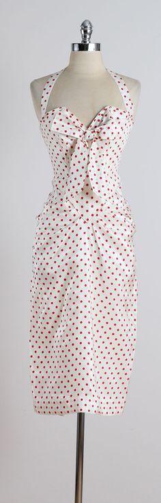 1950s Red White Polka Dots Bombshell Dress