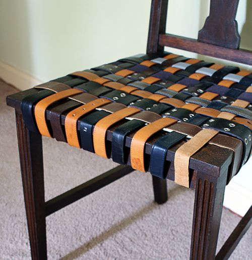 Reuse old belts for a chair makeover (DIY)