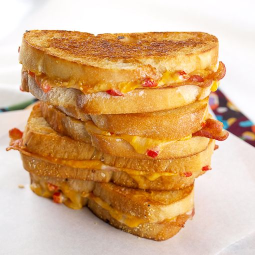 Four-cheese grilled pimento cheese and bacon sandwiches... Oh my! Making these on homemade sourdough!
