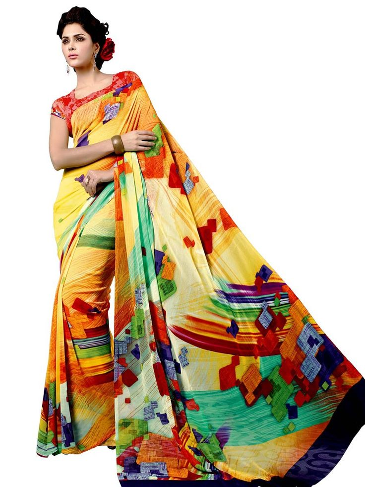 Sensuous yellow color abstract print georgette saree is fluently awesome.  Item Code: SUL14033 http://www.bharatplaza.com/new-arrivals/sarees.html