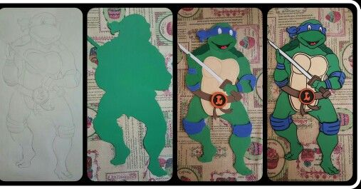 Tortuga Ninja Leonardo con goma-eva