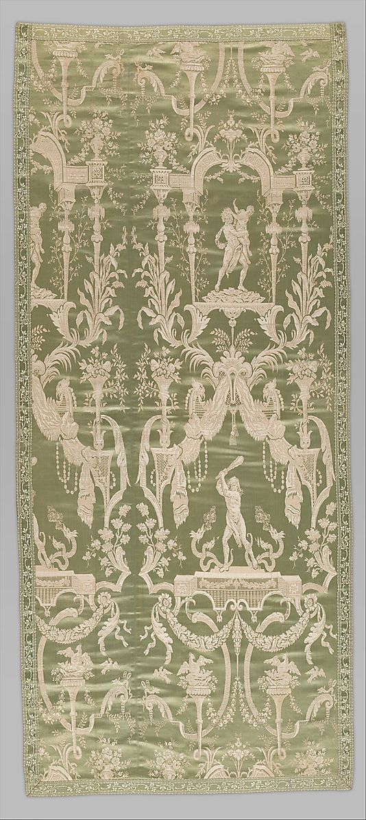 Panel with mythological scenes, ca.1790. French, probably Lyon. The Metropolitan Museum of Art, New York. Rogers Fund, 1948 (48.79.1) | The top vignette in this panel of furnishing silk shows the abduction of the Roman goddess of spring, Proserpine, by Pluto, ruler of the underworld; the bottom illustrates one of the labors of the Roman demigod Hercules- he is slaying the multi-headed Hydra, while the serpent tries to kill him with its poisonous breath. #spring