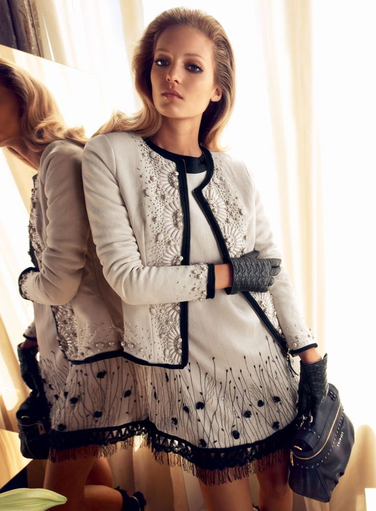 TWIN-SET Simona Barbieri: Short jacket with stone embroidery, dress in georgette with embroidery ,leather glove with heart-shaped quilting and small Cécile bag