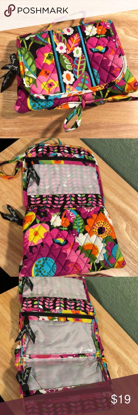 "Vera Bradley travel case Pretty floral Vera B. cosmetic travel bag, 9""W x 7""H x 1-1/2""D (when closed), hardly used...EUC! Vera Bradley Bags Cosmetic Bags & Cases"