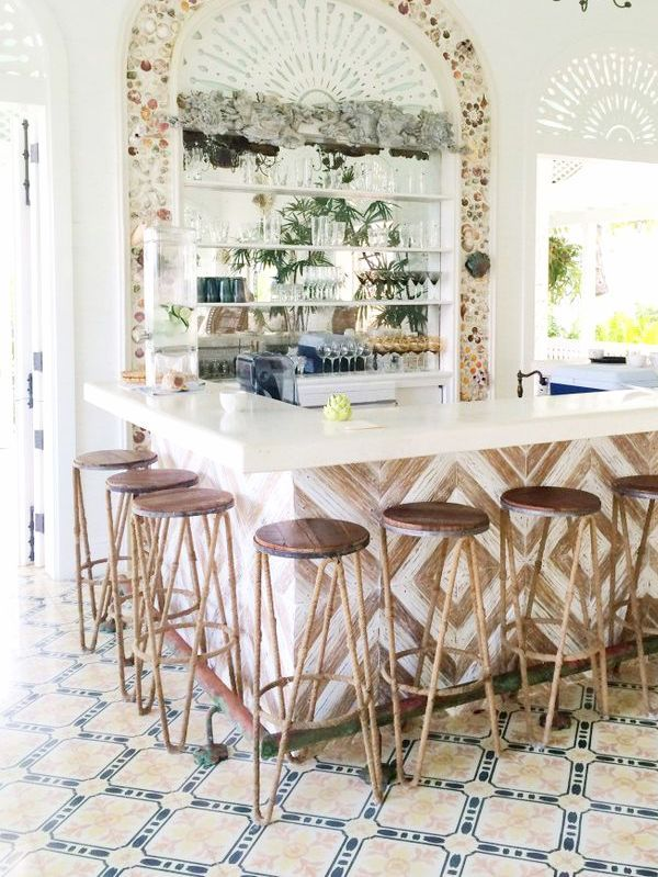 those tiles + that bar + a seashell mirror to top it all off. // playa grande beach club dominican republic. design by celerie kemble