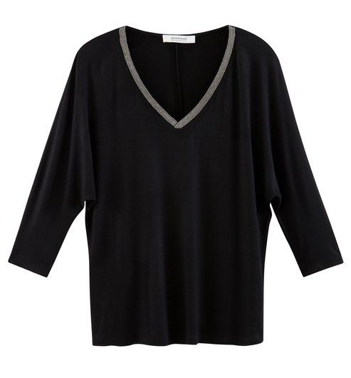 T-shirt col V strassé Femme