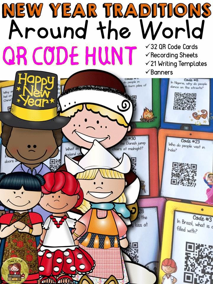 Take your students on a fun QR Code Hunt on how New Year is celebrated around the world. From tossing coins in water for good fortune, to jumping off chairs at the stroke of midnight, and wearing colored underpants on New Year's Day, your students will be left amazed and fascinated with unusual traditions followed in 29 countries in this QR Code Hunt pack. https://www.teacherspayteachers.com/Product/NEW-YEAR-TRADITIONS-AROUND-THE-WORLD-QR-CODE-HUNT-2269996