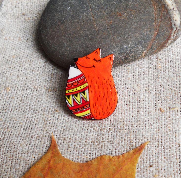 Купить Брошь Сказочная лиса - рыжий, лиса, узор, лисичка, брошь с лисой, сказка, Лисы