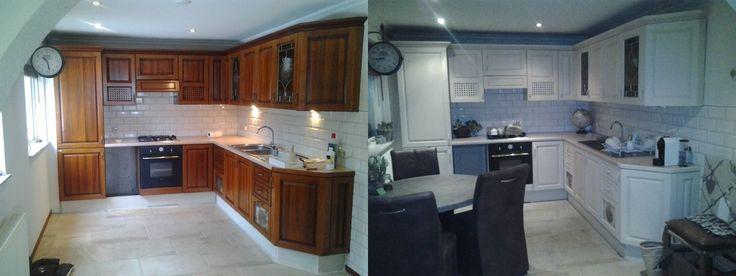 """Super trots op mijn """"nieuwe keuken"""".Voor Annie Sloan krijtverf Old Ochre gekozen.  En dat voor een 1e project!! Groetjes joyce"""