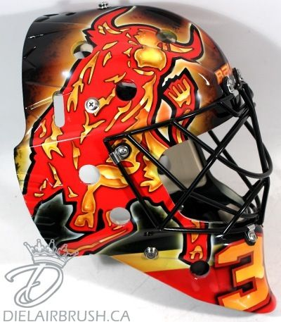 Boston Bruins prospect Malcolm Subban mask right side--a work of art! (nice logo, too)