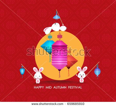 flat Chinese lantern and rabbit. Happy mid autumn festival