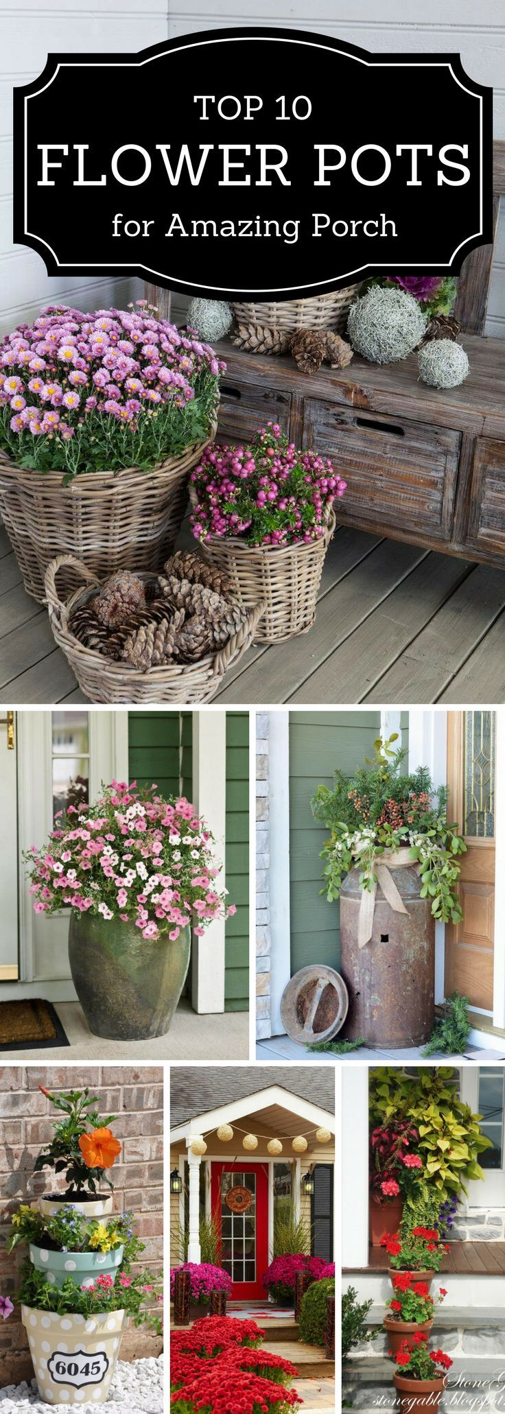 One, two, three, plant something! Browse 10 flower pot ideas for your outdoor oasis: