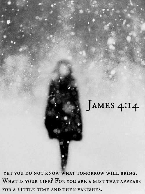 James 4:14  yet you do not know what tomorrow will bring. What is your life? For you are a mist that appears for a little time and then vanishes.