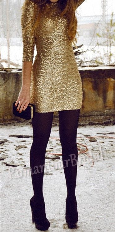 Hot Long Sleeve Golden Seqiuned Party by RomantourBridal on Etsy, $109.99