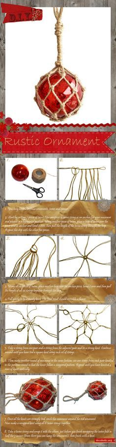 Üveg golyó + rusztikus fűzőszál = egyedi medál ! DIY Rustic Macramé Christmas Ornament
