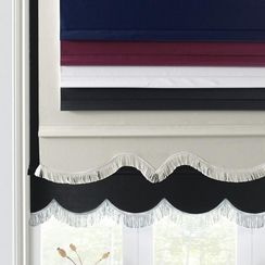 Ready-Made ''Windsor Weave'' Scalloped Hem Room-Darkening Roller Shade