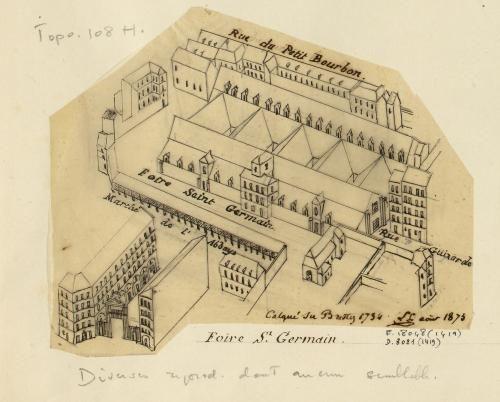 Rive gauche n°7 : foire Saint-Germain. Calqué du Brettez 1734. | Paris Musées
