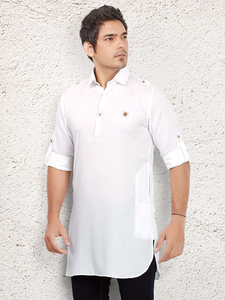 White Solid Linen Short Pathani