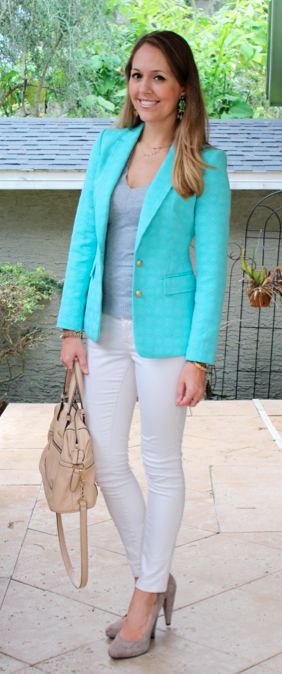 Turquoise blazer, gray sweater, ivory jeans by @jseverydayfash