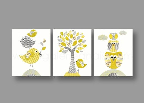 lot de 3 illustrations pour chambre d 39 enfant et bebe gris jaune collage b b et illustrations. Black Bedroom Furniture Sets. Home Design Ideas