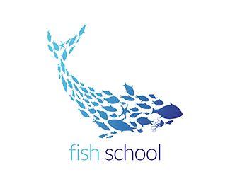 #logo Fish School Logo design - A fish school shaped like a fish.